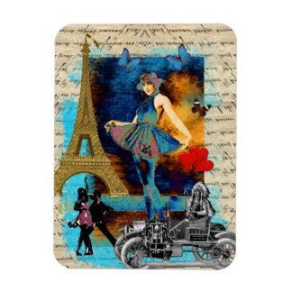 Collage romántico de París del vintage Imán Rectangular
