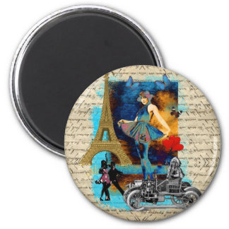Collage romántico de París del vintage Imán Redondo 5 Cm