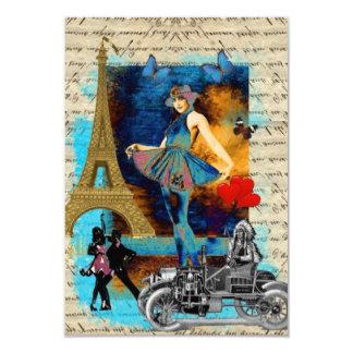 """Collage romántico de París del vintage Invitación 3.5"""" X 5"""""""