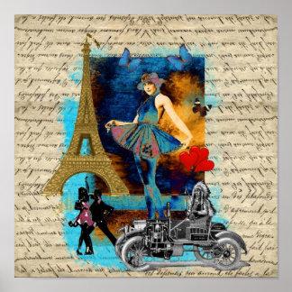 Collage romántico de París del vintage Póster