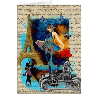 Collage romántico de París del vintage Tarjeta Pequeña