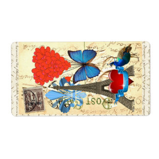 Collage romántico de París Etiquetas De Envío