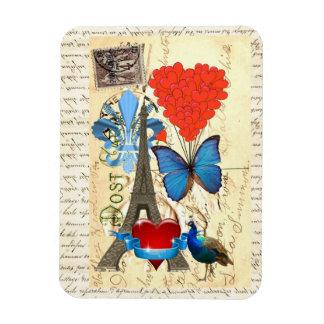 Collage romántico de París Iman Rectangular