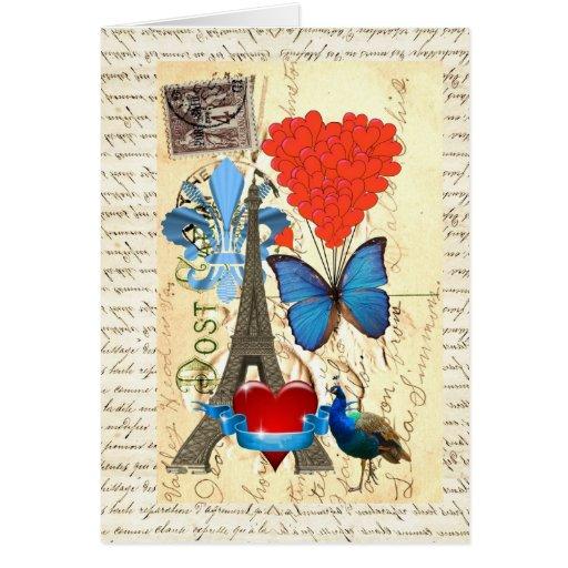 Collage romántico de París Tarjetón