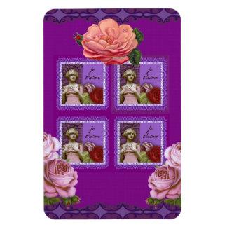 Collage romántico púrpura del vintage del chica de imán foto rectangular