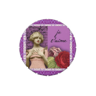 Collage romántico púrpura del vintage del chica de latas de dulces