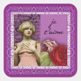 Collage romántico púrpura del vintage del chica de pegatina cuadrada