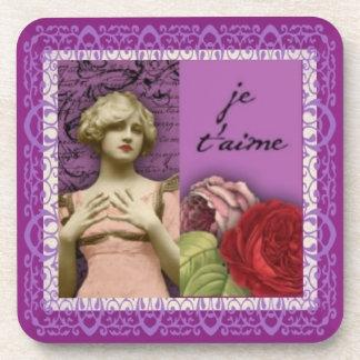 Collage romántico púrpura del vintage del chica de posavaso