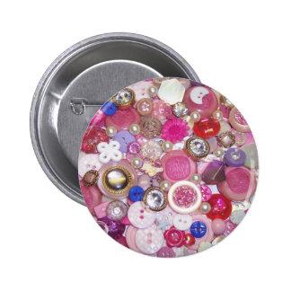 Collage rosado bonito del botón pin redondo de 2 pulgadas