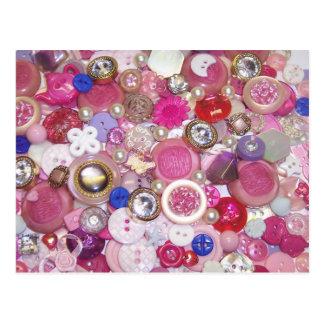 Collage rosado bonito del botón postal