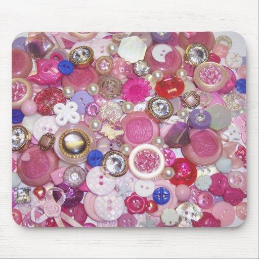 Collage rosado bonito del botón tapete de ratones