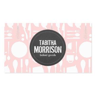 Collage rosado de la cocina con la panadería gris  tarjetas de visita