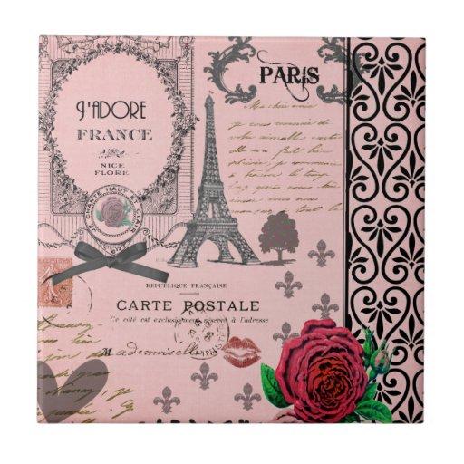 Collage rosado de París del vintage Azulejo Ceramica