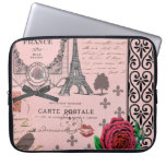 Collage rosado de París del vintage Funda Ordendadores