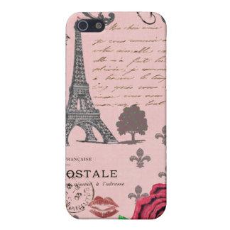 Collage rosado de París del vintage iPhone 5 Carcasa
