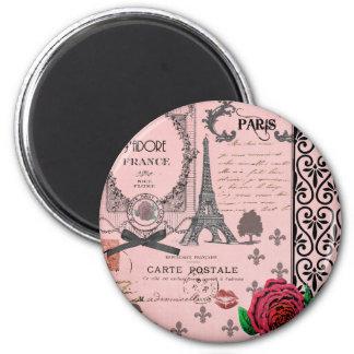 Collage rosado de París del vintage Imán De Frigorifico