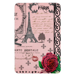 Collage rosado de París del vintage Imán