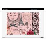 Collage rosado de París del vintage Calcomanía Para Portátil