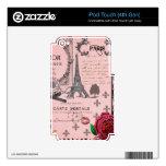 Collage rosado de París del vintage Calcomanía Para iPod Touch 4G
