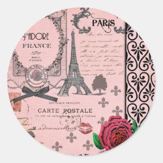 Collage rosado de París del vintage Pegatina Redonda
