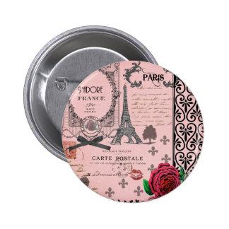 Collage rosado de París del vintage Pin Redondo De 2 Pulgadas