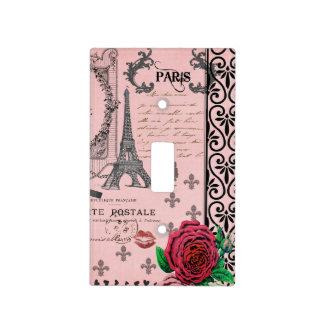 Collage rosado de París del vintage Placas Para Interruptor