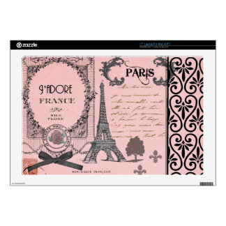 Collage rosado de París del vintage Portátil Calcomanías