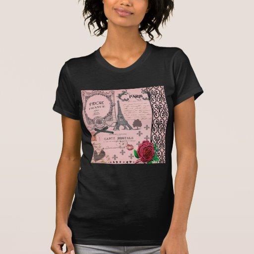 Collage rosado de París del vintage T-shirt
