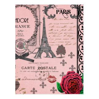 Collage rosado de París del vintage Postales