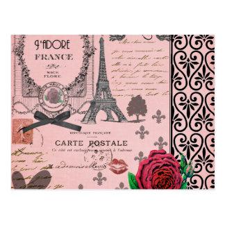 Collage rosado de París del vintage Postal