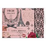 Collage rosado de París del vintage Tarjeton