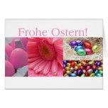 Collage rosado de saludo de Pascua del alemán Tarjeta