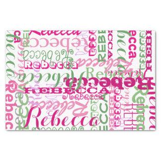 Collage rosado del nombre de la diversión por todo papel de seda pequeño