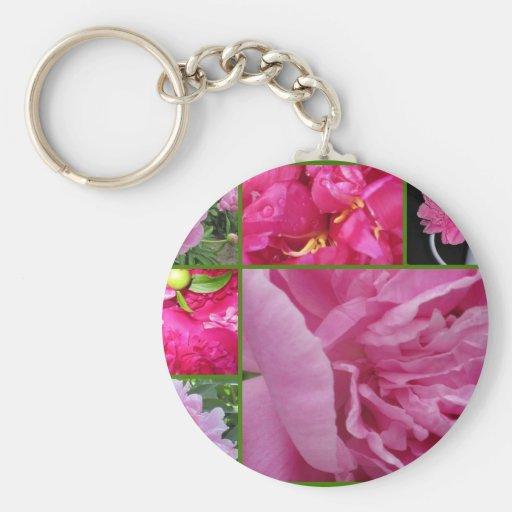 Collage rosado del Peony Llavero Redondo Tipo Pin
