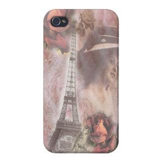 Collage rosado elegante lamentable de la torre iPhone 4/4S carcasas
