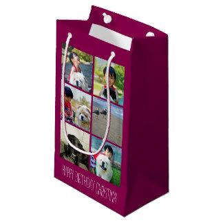 Collage rosado personalizado de la imagen del bolsa de regalo pequeña
