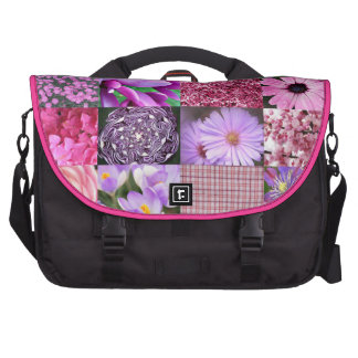 Collage rosado púrpura de la fotografía bolsas para portatil