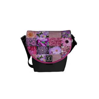 Collage rosado púrpura de la fotografía bolsas messenger