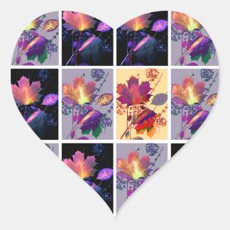 Collage rústico del edredón de remiendo de las pegatina en forma de corazón