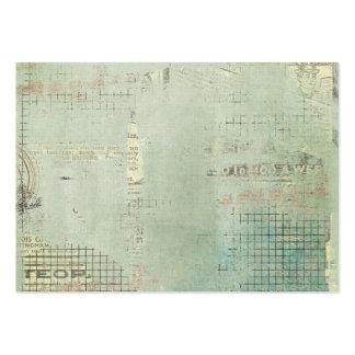collage sellado periódico azul del vintage de la tarjetas de visita