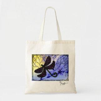 Collage sobre acuarela - amarillo azul de la libél bolsas