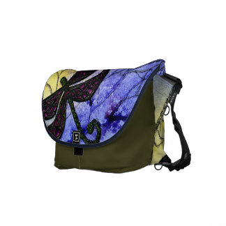 Collage sobre acuarela - amarillo azul de la libél bolsa messenger