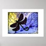 Collage sobre acuarela - amarillo azul de la libél impresiones