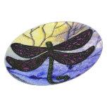 Collage sobre acuarela - amarillo azul de la libél plato