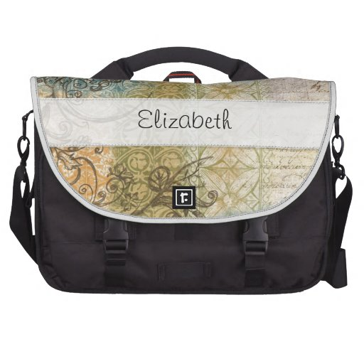 Collage Style Blue Green Stitched Vellum Laptop Bag