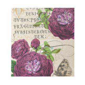 Collage subió escarlata del manuscrito bloc de notas