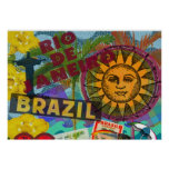 Collage Sun Suramérica del Brasil Río Póster