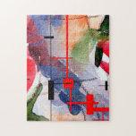 collage, técnicas mixtas y acuarela del arte abstr rompecabeza con fotos
