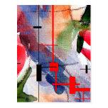 collage, técnicas mixtas y acuarela del arte abstr tarjetas postales