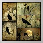Collage terroso de los cuervos poster